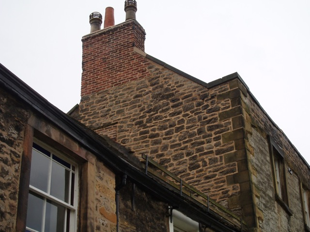 The gable end and chimney lovingly repointed.
