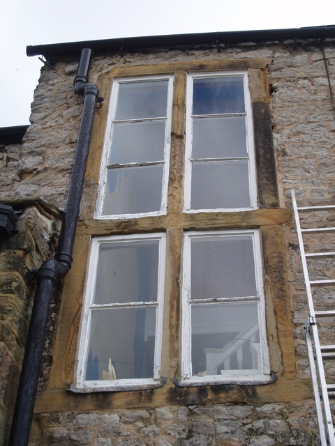 The stone windows in need of a little bit of TLC !