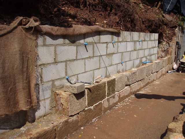 The secondary retaining wall taking shape.
